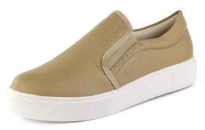 Tênis Casual Slip On Liso New Pele Light Tan