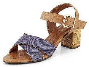 Sandália Salto Bloco Cortiça Tiras Em X Jeans Com Traseiro Ambar