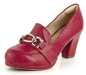 Sapato Scarpin Meia Pata Corrente Dourada Cobra Verniz Scarlet
