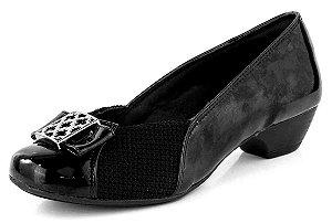 Sapato Salto Baixo Joanete Croche New Pele Preto