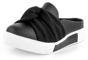 Tênis Slip On Open New Pele Preto Laço Croche Preto