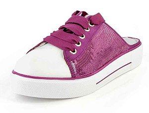 Tênis Mule Retrô Bico Branco Camurça Confeti Pink