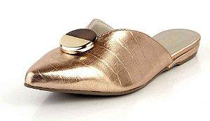 Mule Bico Fino Decote V E Pedra Metal Champagne Ouro