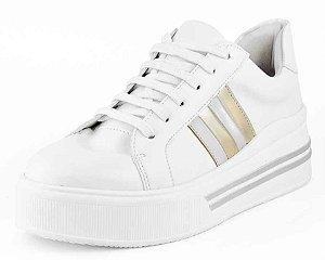 Tenis Plataforma Listras New Pele Branco