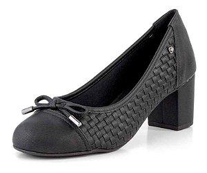 Sapato Salto Bloco Tressê New Pele Preto