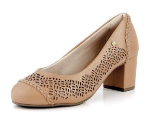 Sapato Salto Bloco Laser New Pele Antique