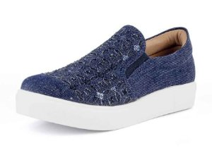 Tênis Slip On Casual Bordado Jeans