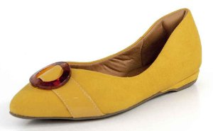 Sapatilha Bico Fino Fivela Camurça Narciso Amarelo