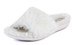 Chinelo Slide Feminino Pelúcia Off White