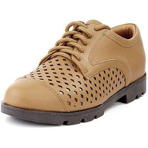 Sapato Oxford Com Recortes New Pele Âmbar