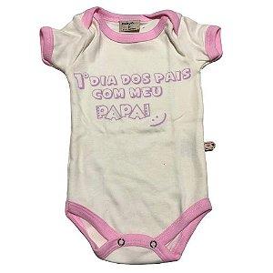 Body 1o dia dos pais rosa bebe