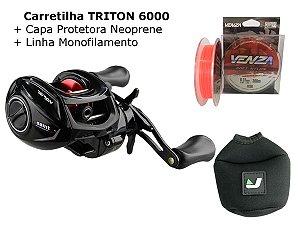 Carretilha Triton 6000 Saint Plus + Capa + Linha (Grande Cpacidade de linha)