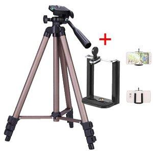 Tripé para câmera + suporte para celular