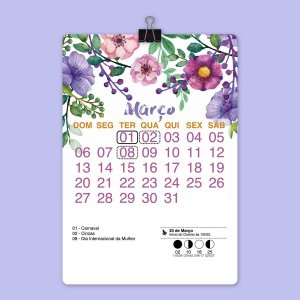 Calendário de Parede com Clip Watercolor Floral
