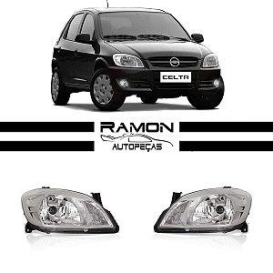 Farol GM Celta Prisma 2006 2007 2008 2009 2010 2011 2012 Cromado