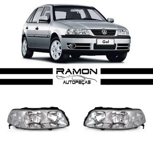 Farol Dianteiro VW Gol G3 2000 2001 2002 2003 2004 2005 Foco Duplo Cromado