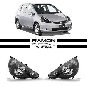 Farol Dianteiro Honda Fit 2003 2004 2005 2006 2007 2008 Máscara Negra