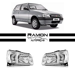 Farol Dianteiro Fiat Uno 2004 2005 2006 2007 2008 2009 2010 Cromado