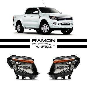 Farol Ford Ranger 2012 2013 2014 2015 Novo Mascara Negra