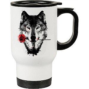Caneca Térmica Branca A Rosa do Lobo