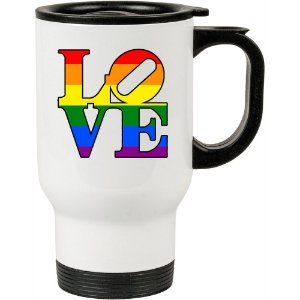 Caneca Térmica Branca Love LGBT