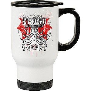 Caneca Térmica Branca Emblema de Cthulhu Lovecraft