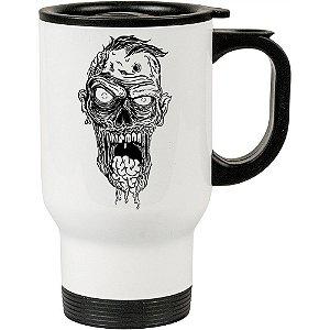 Caneca Térmica Branca Está Vivo o Zombie