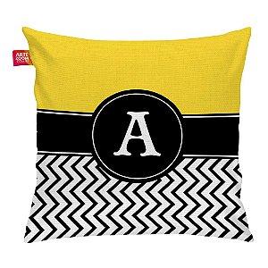 Almofada Zigzag Amarelo Monograma Inicial A 35x35cm