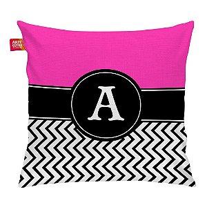 Almofada Zigzag Pink Monograma Inicial A 35x35cm