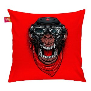 Almofada A Aventura do Macaco Mau Vermelha 35x35cm
