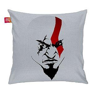 Almofada A Face de Kratos Cinza 35x35cm
