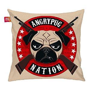 Almofada Angry Pug Nation Bege 35x35cm