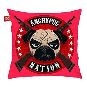 Almofada Angry Pug Nation Pink 35x35cm