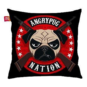 Almofada Angry Pug Nation Preta 35x35cm