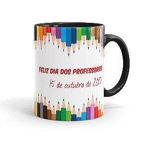 Caneca Porcelana Dia dos Professores 15 Outubro Preta
