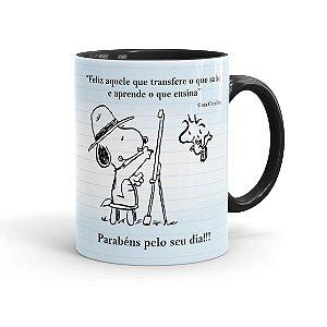 Caneca Porcelana Dia dos Professores Snoopy Preta