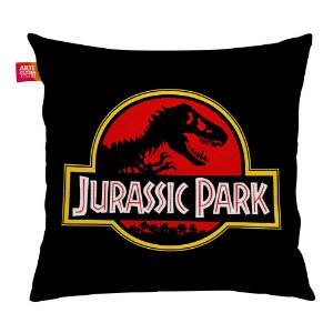 Almofada Jurassic Park Black Red Preta 35x35cm