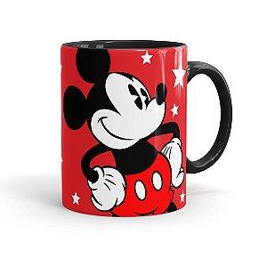 Caneca Personalizada Porcelana Mickey 02 com Nome Preta