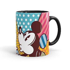Caneca Porcelana Mickey e Minnie Beijos Coloridos Preta
