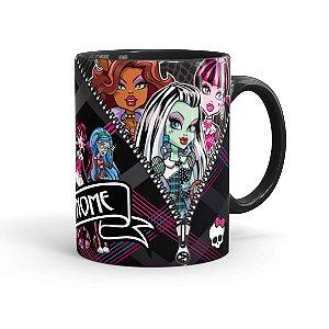 Caneca Porcelana Monster High Seu Nome Preta