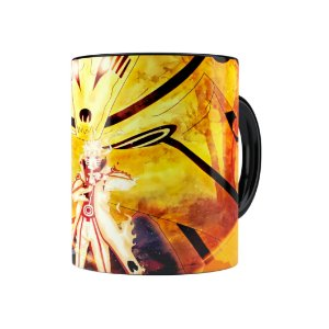 Caneca Porcelana Naruto Shippuden Naruto Modo Bijuu 01 Preta