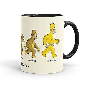 Caneca Porcelana Simpsons A Evolução de Homer Simpson Preta