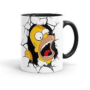 Caneca Porcelana Simpsons Homer Simpson Quebrando Tudo Preta