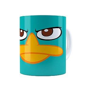 Caneca Porcelana Phineas e Ferb Perry o Ornitorrinco Branca