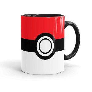 Caneca Porcelana Pokébola Pokémon Preta
