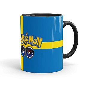 Caneca Porcelana Pokémon Go Suecia Preta