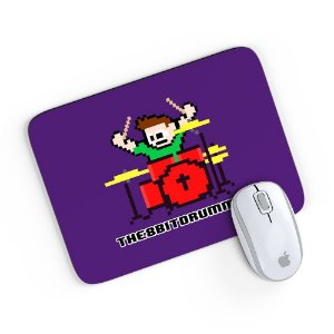 Mouse Pad 8 Bits Bateria Roxo 24x20