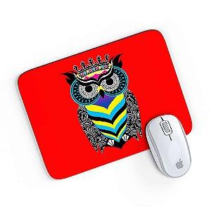 Mouse Pad A Arte da Coruja Vermelho 24x20