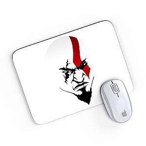 Mouse Pad A Face de Kratos Branco 24x20