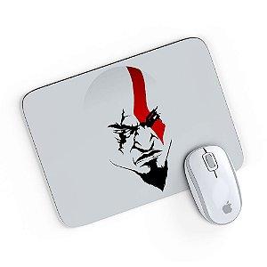 Mouse Pad A Face de Kratos Cinza 24x20